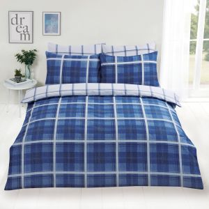 Dreamscene Denim Check Duvet Cover Set - Blue