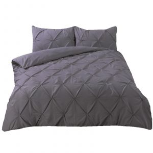 Highams Diamond Pintuck Pinch Pleat Duvet Cover Set - Charcoal