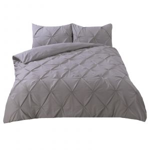 Highams Diamond Pintuck Pinch Pleat Duvet Cover Set - Silver