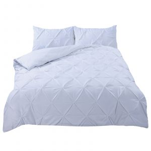 Highams Diamond Pintuck Pinch Pleat Duvet Cover Set, White