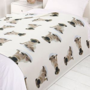 120X150Cm Printed Fleece Throw Dogs