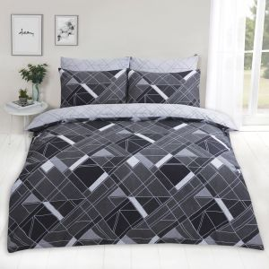 Dreamscene Abstract Lines Duvet Cover Set - Black