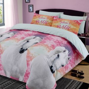 Dreamscene Unicorn Magic Duvet Cover Set - Pink