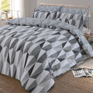 Dreamscene Billie Reversible Geometric Duvet Cover Set - Black/Grey