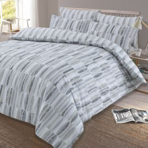 Dreamscene Ellipse Reversible Geometric Duvet Cover Set - Grey