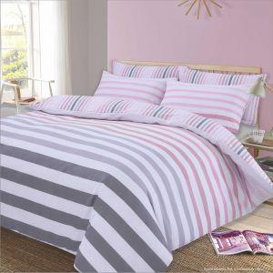 Dreamscene Premium Fade Stripe Duvet Set - Pink