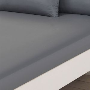 Brentfords Plain Dyed Fitted Sheet - Grey