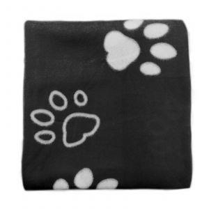 Dreamscene Fleece Pet Blanket Throw, Black Paw - 120 x 120cm