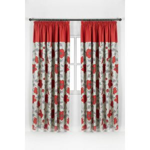 Floral Pencil Pleat Blackout Curtains - Red