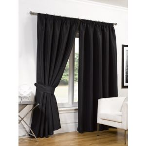 Faux Silk Blackout Curtains - Black