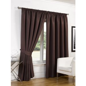 Faux Silk Blackout Curtains - Chocolate