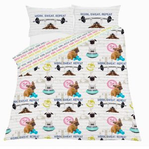 Dreamscene Gym Addict Pug Duvet Cover Set, White - Double