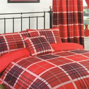 Dreamscene Hampton Duvet Set with Curtains, Double - Red