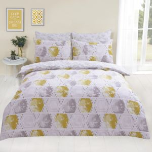 Dreamscene Harmony Geometric Duvet Cover Set - Yellow/Grey