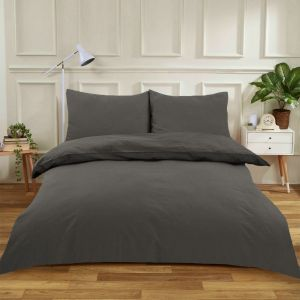 Highams Easy Care Polycotton Duvet Cover Set - Charcoal Grey