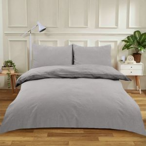Highams Easy Care Polycotton Duvet Cover Set - Silver Grey
