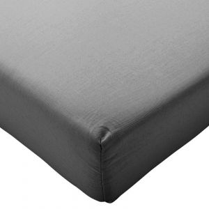 Highams 100% Brushed Cotton Flannelette Fitted Sheet - Plain Charcoal Black
