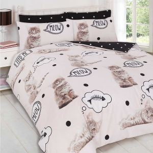 Meow Kitten Reversible Duvet Cover Set - Cream