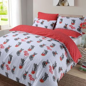 Koala Animal Print Duvet Cover Set - Red