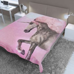 150X200Cm Printed Mink Throw Unicorn Side
