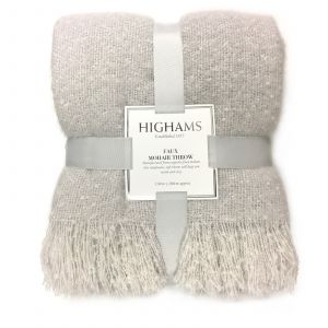 Highams Mohair Throw, Light Grey - 150 x 200cm