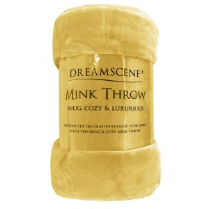 Faux Fur Mink Throw - Ochre Yellow