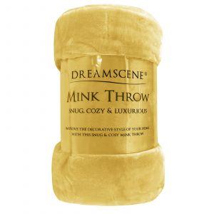 Faux Fur Mink Throw - Ochre Yellow