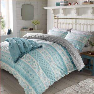 Christmas Nordic Duvet Cover 100% Brushed Cotton Xmas Bedding Set - Double
