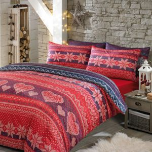 Nordic Duvet Cover Bedding Set Soft Touch Print, Red Navy - King