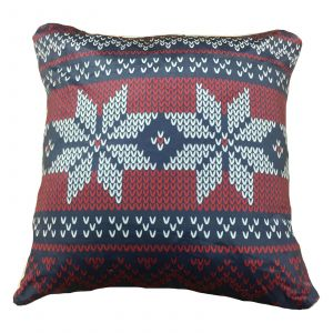 Nordic Fleece Cushion Cover, Red Navy - 43 x 43cm