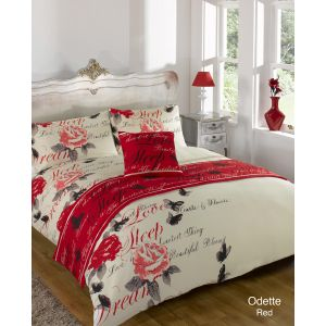 Odette Bed In A Bag Duvet Cover Set, Single - Red