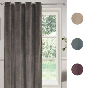 "Sienna Matt Velvet Eyelet Single Door Curtain Panel - 54"" x 86"""