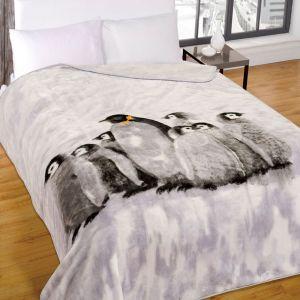 Dreamscene Faux Fur Mink Throw - Penguin Family - 150x200cm