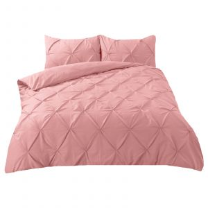 Highams Diamond Pintuck Pinch Pleat Duvet Cover Set - Blush Pink
