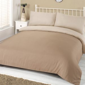 Brentfords Reversible Plain Duvet Cover Set - Mink Cream