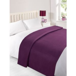 120X150Cm Dover Plain Fleece Throw Grape