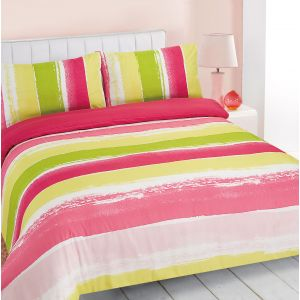Dreamscene Portobello Stripe Duvet Cover Set - Green/Pink