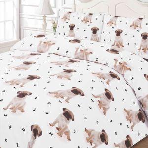 Pug Duvet Cover Set - White