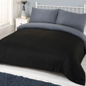 4pc Complete Plain Dye Duvet Set Black Grey