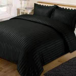 Brentfords Satin Stripe Duvet Cover Set - Black