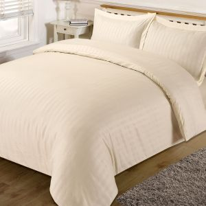 Brentfords Satin Stripe Duvet Cover Set - Cream