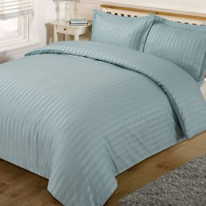 Brentfords Satin Stripe Duvet Cover Set - Duck Egg Blue