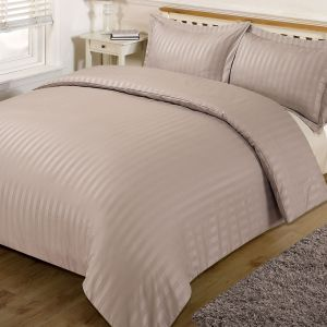 Brentfords Satin Stripe Duvet Cover Set - Mink