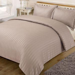 Brentfords Satin Stripe Duvet Cover Set - Mink