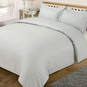 Brentfords Satin Stripe Duvet Cover Set - Silver