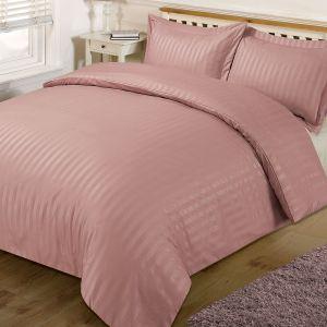 Brentfords Satin Stripe Duvet Cover Set - Pink