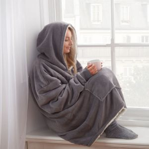 Sienna Supersoft Hoodie Blanket, One Size - Charcoal Grey