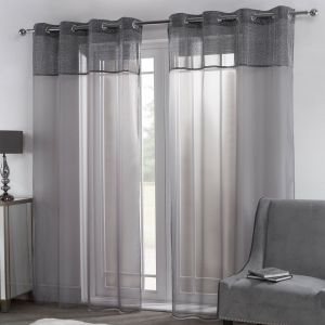 "Sienna Amelia Lurex Voile Net Curtains Eyelet, Charcoal Grey - 55"" x 87"""