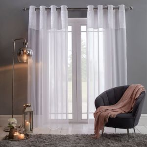 "Sienna Crushed Velvet Voile Curtains, White - 55"" x 87"""