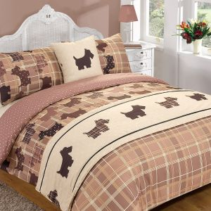 Dreamscene Tartan Scottie Dog 5 Piece Bed in a Bag Duvet Cover - Chocolate Brown - Single